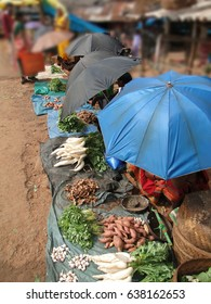 Tribal women, shaded by umbrellas, sell vegetables  in weekly market   in Ankadeli, Orissa in India