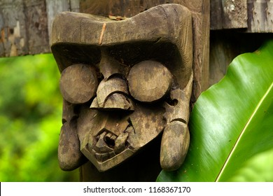 Tribal wood carved in decoration of traditional longhouse in Malaysia