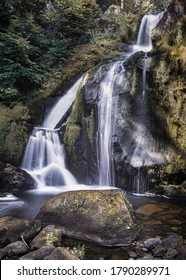 The Triberg are known as Germany's highest waterfalls. The Gutach River feeds the seven-tiered falls, which drop a total of 163m. Triberg, Black Forest, Baden-Württemberg, Germany