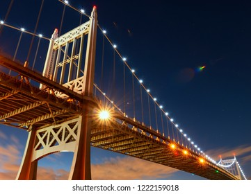 Triborough Bridge or Robert F. Kennedy Bridge, at night, in Astoria, Queens, New York. USA