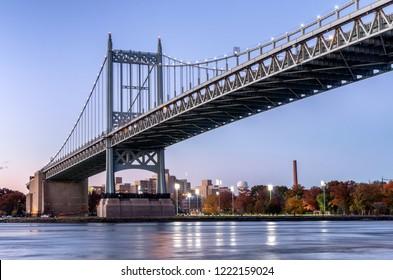 Triborough Bridge or Robert F. Kennedy Bridge, at night, in Astoria, Queens, New York. USA