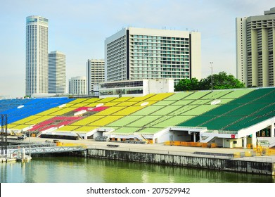 Tribune of Singapore floating sport platform in the day