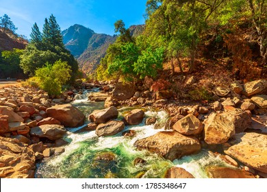 Tributary of Kings river on Kings Canyon National Park scenic view. On Highway 180 in California, United States of America. Located in southern Sierra Nevada, bordered by Sequoia National Park.