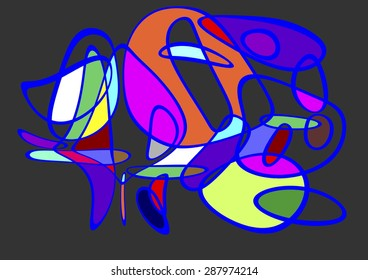 tribute to Miró, Abstract artistic composition of circles crushed by the force of gravity, abstract surrealism, artistic diagram of sets, colors red, yellow, blue, green, black and white,