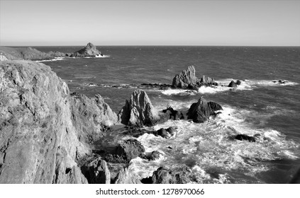 Tribute to Ansel Adams, black and white artistic photographs, sirens reef, natural Park of Cabo de Gata is formed by a dome of calcoalcalino rocks, dacites and amphibolic-biotitic andesites, Almería,