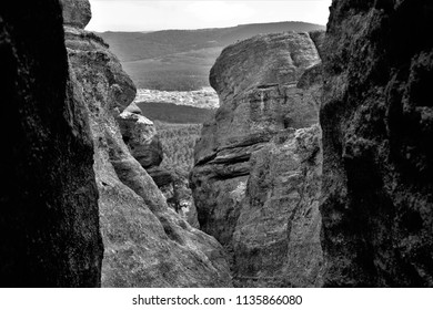 tribute to Ansel Adams, rock formations of karsts,series of black and white artistic photographs of the Castroviejo karstic labyrinth, Duruelo de la Sierra, Soria, spain,