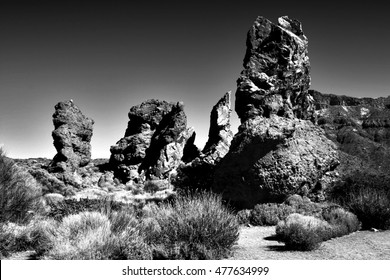 tribute to Ansel Adams, Teide National Park,  Las Canadas del Teide, Los Roques of García,Teide volcano,series of artistic black and white photographs of the Tenerife,