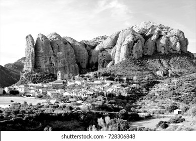 tribute to Ansel Adams, vertical walls,series of black and white artistic photographs of landscapes of The mallos of Riglos and Agüero, Vertical mountains for climbers in Huesca, Aragon, Spain,