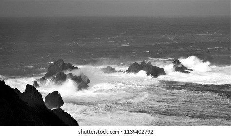 tribute to Ansel Adams, waves breaking on the cliffs of Cabo de Ortegal, Aguillos, A Coruña,series of black and white artistic photographs of landscapes of Galicia, spain,