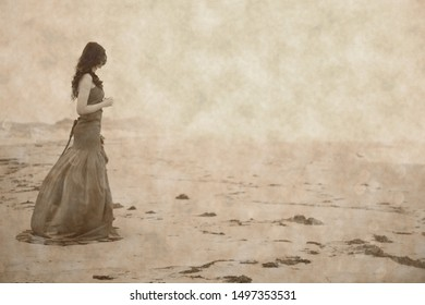 tribute to Ansel Adams, young woman with dress on the beach, art photography aged, to give her timeless feeling,