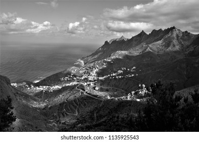 tribute to Ansel Adams,artistic black and white photography, of Taganana, Tenerife, spain,