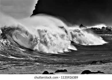 tribute to Ansel Adams,artistic black and white photography of breaking wave, Tenerife, spain,