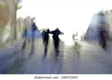 Tribute to Ernst Hass, Tribute to Monet, impressionist photograph of the people,   sweeps of unrecognizable figures in Toledo, Spain, photographic sweeps at low shutter