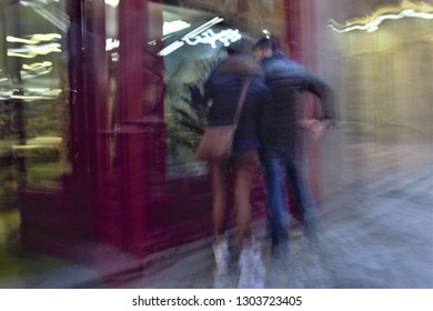 tribute to Ernst Hass, Tribute to Monet, impressionist photograph of the people in a typical comercial street, Toledo, Spain, photographic sweeps at low shutter speed,  motion sensation,