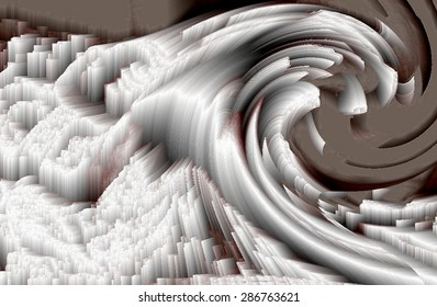 Tribute to Katsushika Hokusai,crystalized wave, allegory of crystallized feeling, metaphor of neurosis, psychosis metaphor, repression, repressed feelings, cubist art of a wave, the breaking point,