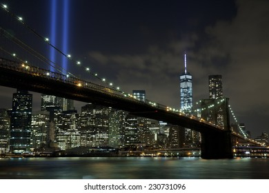 The Tribute in Light with Brooklyn bridge in New York City.  View from Dumbo, Brooklyn.