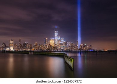 Tribute in light from Jersey City Waterfront Walkway on the memorial of September 11th.