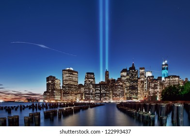 Tribute lights in blue hour