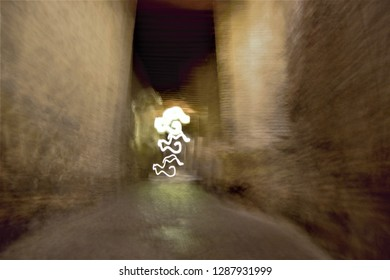 Tribute to Monet, tribute to Ernst Hass, impressionist photograph of passageways, sheds, at night, Toledo, Spain, photographic sweeps at low shutter speed, blurred background, motion sensation,