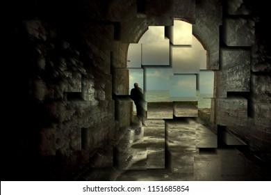 tribute to Picasso, cubist photograph of the allegory of suicide, depression, anguish, loneliness, fear, death, addiction, pain, emptiness, anxiety, sadness, grief, pain,   photographs cubist,