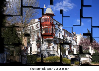 tribute to Picasso, cubist photograph of the Modernist palace in Ferrol,A Coruña, Galicia, Spain, series of photographs with cubist effects,artistic photography, contemporary art,