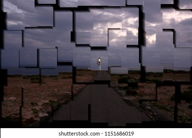 tribute to Picasso, cubist photograph of the sunset in the lighthouse of La Mola, island of Formentera, Balearic Islands,Spain, series of photographs with cubist effects,artistic photography,