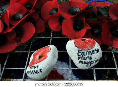 Tributes on Armistice Day 2018 Seaford,East Sussex UK,November 2018