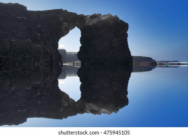 tric composition of cliffs and beaches,photography surreal beach Cathedrals, Lugo, Galicia, Spain, surf, abstract surrealism,