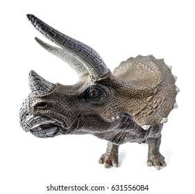 Triceratops, wide front view dinosaurs toy isolated on white background with clipping path. Genus of herbivorous ceratopsid dinosaur.