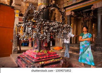 TRICHY, TAMIL NADU, INDIA 18 FEBRUARY 2018 : Unidentified Indian pilgrims in the Sri Ranganathaswamy Temple, the biggest hindu temple in India, Tiruchirappalli or Trichy.