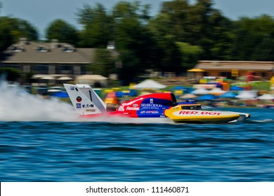 TRI-CITIES, WA - JULY 28: Kip Brown pilots the U-17 Our Gang Racing hydroplane at the Lamb Weston Columbia Cup July 28, 2012 on the Columbia River in Tri-Cities, WA.