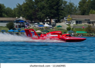 TRI-CITIES, WA - JULY 28: N. Mark Evans pilots U-57 Formulaboats hydroplane along the water at the Lamb Weston Columbia Cup July 28, 2012 on the Columbia River in Tri-Cities, WA.