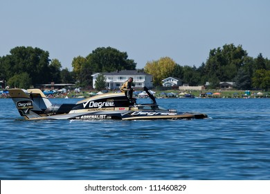TRI-CITIES, WA - JULY 28: Scott Liddycoat has technical problem with the  U-88 Degree Men hydroplane during the Lamb Weston Columbia Cup July 28, 2012 on the Columbia River in Tri-Cities, WA.