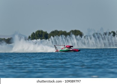 TRI-CITIES, WA - JULY 28: Steve David pilots the U-6 Oh Boy Oberto unlimited hydroplane at the Lamb Weston Columbia Cup July 28, 2012 on the Columbia River in Tri-Cities, WA.