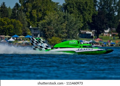 TRI-CITIES, WA - JULY 29: Brian Perkins pilots U-21 Go Fast, Turn Left hydroplane along the water at the Lamb Weston Columbia Cup July 29, 2012 on the Columbia River in Tri-Cities, WA.
