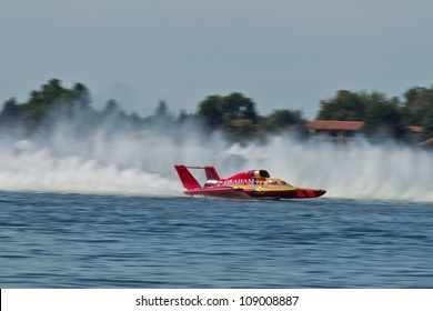 TRI-CITIES, WA - JULY 29: Jimmy Shane, driving the U-5 Graham Trucking, wins the Lamb Weston Columbia Cup hydroplane final on July 29, 2012 on the Columbia River in Tri-Cities, WA.