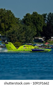 TRI-CITIES, WA - JULY 29: JW Myers pilots the U-11 Unlimited Racing Group hydroplane at the Lamb Weston Columbia Cup July 29, 2012 on the Columbia River in Tri-Cities, WA.