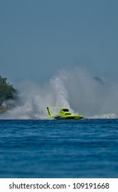 TRI-CITIES, WA - JULY 29: JW Myers pilots the U-11 Unlimited Racing Group hydroplane creating the wall of water called a roostertail at the Lamb Weston Columbia Cup July 29, 2012, in Tri-Cities, WA.