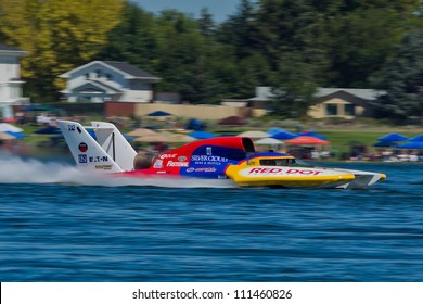TRI-CITIES, WA - JULY 29: Kip Brown pilots the U-17 Our Gang Racing hydroplane at the Lamb Weston Columbia Cup July 29, 2012 on the Columbia River in Tri-Cities, WA.