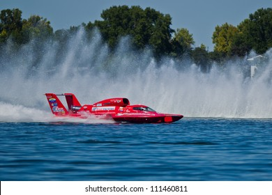 TRI-CITIES, WA - JULY 29: N. Mark Evans pilots U-57 Formulaboats hydroplane along the water at the Lamb Weston Columbia Cup July 29, 2012 on the Columbia River in Tri-Cities, WA.