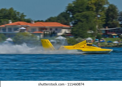 TRI-CITIES, WA - JULY 29: Ryan Mallow pilots U-99 Leland Unlimited hydroplane along the water at the Lamb Weston Columbia Cup July 29, 2012 on the Columbia River in Tri-Cities, WA.