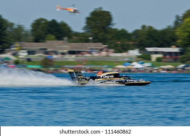 TRI-CITIES, WA - JULY 29: Scott Liddycoat pilots U-88 Degree Men hydroplane along the water at the Lamb Weston Columbia Cup July 29, 2012 on the Columbia River in Tri-Cities, WA.