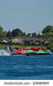 TRI-CITIES, WA - JULY 29: Steve David pilots the U-6 Oh Boy Oberto unlimited hydroplane at the Lamb Weston Columbia Cup July 29, 2012 on the Columbia River in Tri-Cities, WA.