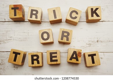 trick or treat letters halloween lettering on wooden background