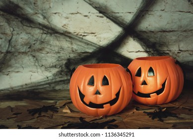 trick or treat. Scary halloween pumpkin on wooden table