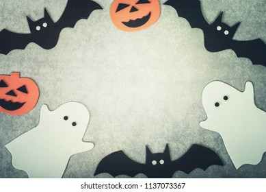trick or treat.Halloween concept with ghosts and halloween pumpkin