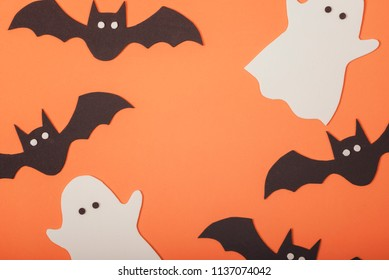 trick or treat.Halloween concept with ghosts and halloween bats