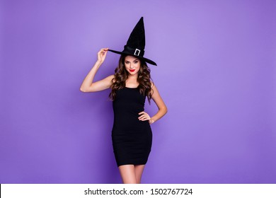 Trick-or-treat! Portrait of charming woman witch gothic creepy fantasy creature of darkness want spell magic scary people feel coquette wear mini dress isolated over violet color background