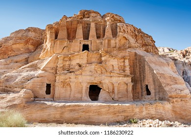 The Triclinium is built in front of the Obelisk Tomb near the entrance to the necropolis of Petra in Jordan.