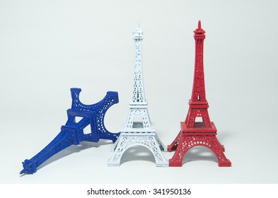 The tricolor Eiffel Tower / French national flag
